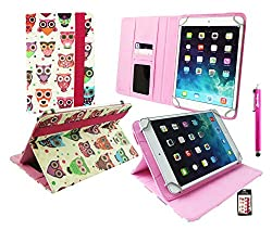 Emartbuy® Karbonn Cosmic Smart Tab 10 Tablet 10 Inch Universal Range Multi-Coloured Owls Premium PU Leather Multi Angle Executive Folio Wallet Case Cover Grey Interior With Card Slots + Hot Pink Stylus