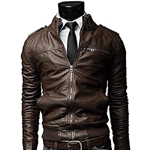 Cccken® Men's Slim Fit PU Faux Leather Zipper Closure Rider Jacket (Label size L(US S chest=40''), Coffee)