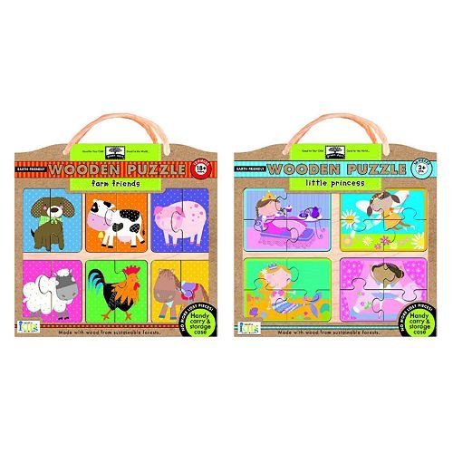 Picture of Fun Innovative Kids Green Start Farm Friends and Little Princesses Puzzle Pack (B0055TKGZA) (Pegged Puzzles)