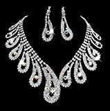 Taoqiao Chic Bridal Party Rhinestone Artificial Zircon Necklace Earrings Set