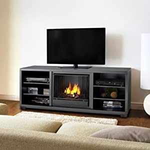 Real Flame Marco Gel TV Stand Fireplace in Black