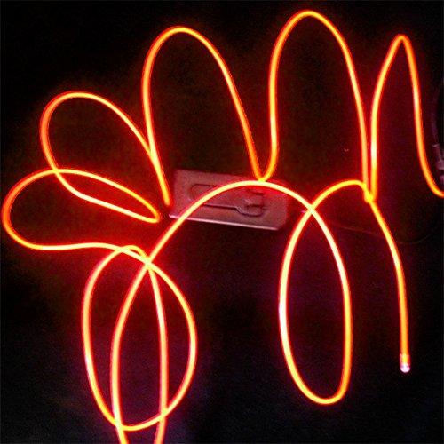 Tdltek Neon Glowing Strobing Electroluminescent Wire /El Wire + Car Cigarette Controller, Orange 9Ft