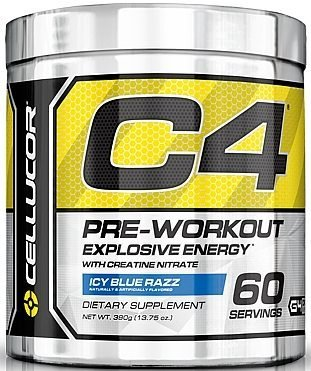 Cellucor - C4 Fitness Training Pre-Workout Supplement for Men and Women - Enhance Energy and Focus with Creatine Nitrate and Vitamin B12, Icy Blue Razz, 30Servings, 6.87 oz (Icy Blue Razz 60 servings)