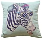 Konve 18 x 18 Inch Home Decorative Throw Pillow Cover Cushion Cover Pillowcase, Boss Zebra