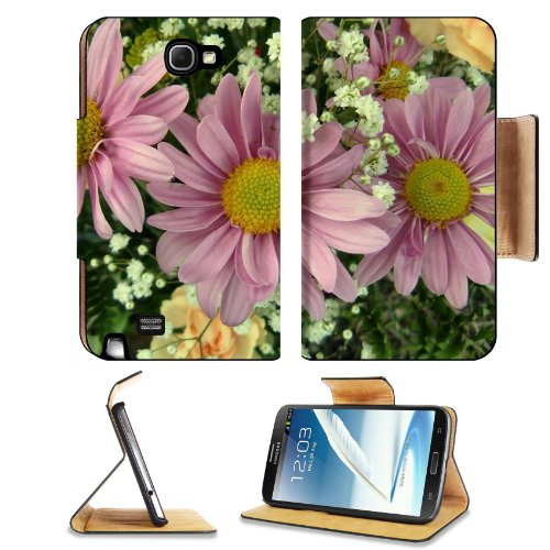 Pink Daisies With Baby'S Breath Flowers Colorful Nature Beauty Samsung Galaxy Note 2 N7100 Flip Case Stand Magnetic Cover Open Ports Customized Made To Order Support Ready Premium Deluxe Pu Leather 6 1/16 Inch (154Mm) X 3 5/16 Inch (84Mm) X 9/16 Inch (14M front-668017