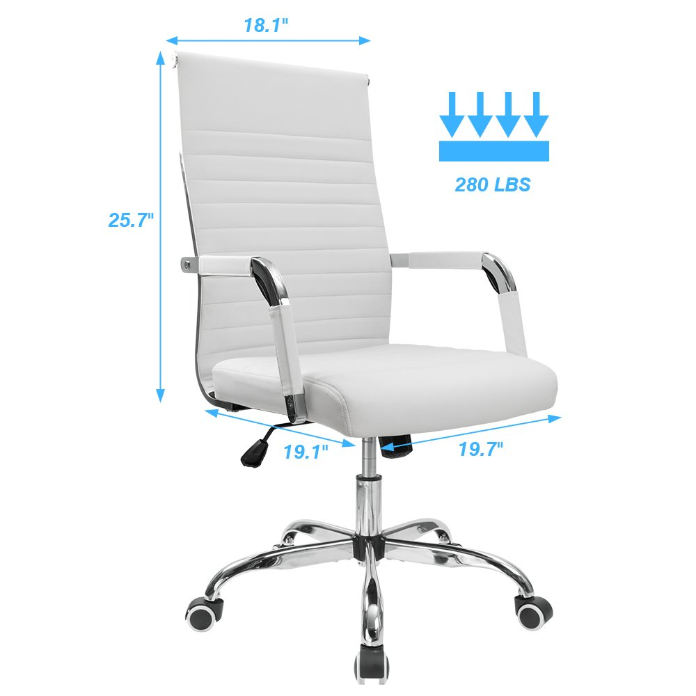 Furmax Ribbed Office Chair Mid-Back PU Leather Executive Conference Chair Adjustable Swivel Chair With Arms (White)