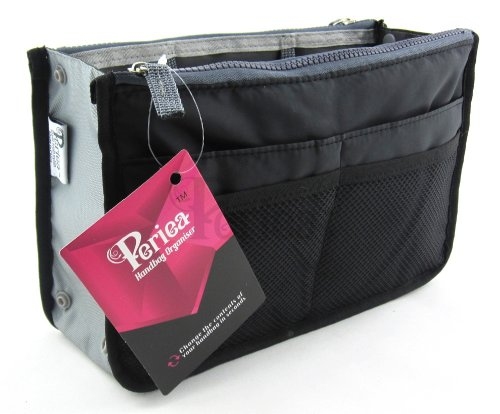 Periea-Handtaschen-Organiser-Geldbeutel-Einsatz-12-Fcher-Chelsy-Schwarz-M
