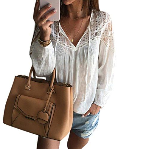 Fortan Lace chiffon maniche lunghe Donne Uncinetto camicetta parti superiori della maglietta (medium)