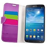 Samrick Executive Étui portefeuille en cuir pour Samsung i9200 Galaxy Mega 6.3 et i9205 Galaxy Mega 6.3 avec porte-carte, support de maintien, film protecteur d'écran et chiffon microfibre Violet