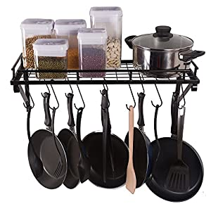 ZESPROKA Kitchen Wall Pot Pan Rack,Black