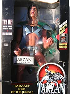 "TARZAN EPIC ADVENTURES 15"" inches (TARZAN JUNGLE KING) LORD of THE JUNGLE ACTION FIGURE ELECTRONIC MOTION ACTIVATED with BONUS POWER DISK"