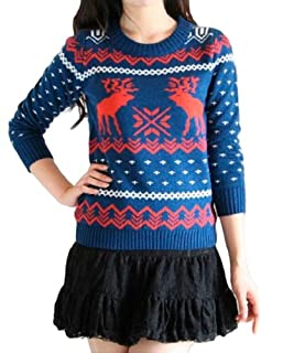 CHRISTMAS Sweater / Cardigan, with Various Lovely Patterns of Reindeer / Snowman / Snowflakes / Tree (XL, Deer&Snowflake-Blue)