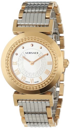 Versace Women's P5Q80D499 S089 Vanity Rose Gold Ion-Plated Stainless Steel Silver Sunray Dial Watch