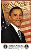 Barack Obama - 11 x 17 - 2009 Inaugural Portrait with Inaugural and Presidential Seals - Style A