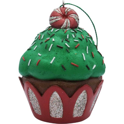 Jillson Roberts Christmas Cupcake Ornament, Green Peppermint Glitter