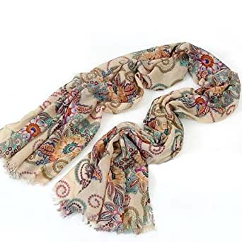 Chic Womens Bohemian Vintage Knitted Warm Scarf Totem Pattern Flowers Shawl SC-0015