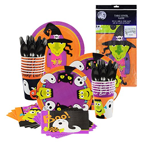 Halloween Value Disposable Tableware Party Table set 51 pcs., Serves 14, Includes 1 Table Cover 54×108″, 14 Halloween Paper Cups 9oz., 18 Paper Plates 9″, 18 Dinner Napkins, 16 Spoons, Forks, Knives
