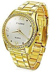 Soleasy Men/Women's Diamond Dial Gold Steel Analog Quartz Wrist Watch (Assorted Colors) JMW0131