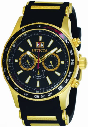 Invicta Flight Black Dial Gold-tone Chronograph Mens Watch 1236