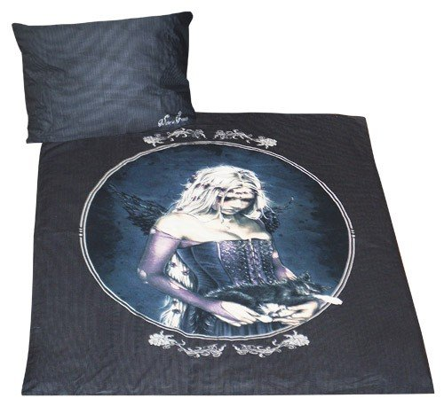 Victoria Frances Angel Of Death And Cat Cameo And Pinstripe Gothic Bedding Set Black by Victoria Frances