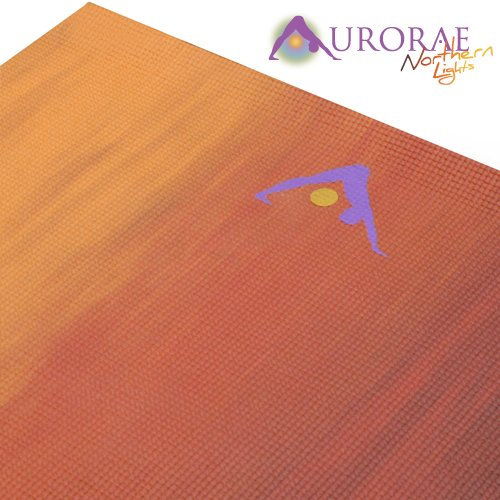 Aurorae Northern Lights Yoga Mat with Golden Sun Focal Icon - Most Innovative Design that will Awaken the Energy within you. PER Eco Safe Material, Biodegradable and Phthalates free