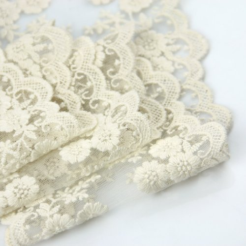 "Best Price Wholeport 3.9"" Beige Lace Trim Cotton Embroidery Wedding Fabric By the Yard"