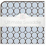 SwaddleDesigns Ultimate Receiving Blanket, Brown Mod Circles, Pastel Blue Color: Pastel Blue, Model: SD-016PB, Newborn & Baby Supply