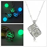 Vale® Cubo que brilla colgante, collar mágico pendiente del Locket Fairy Box brilla en la joyería de plata oscuro plateado-Verde