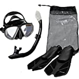Seavenger Diving Snorkel Set- Dry Top Snorkel / Trek Fin / 2-windows Tempered Glass Mask / Gear bag- Black Silicone - Small/Medium