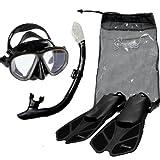 Seavenger Diving Snorkel Set- Dry Top Snorkel / Trek Fin / 2-windows Tempered Glass Mask / Gear bag- Black Silicone - Large/X-Large