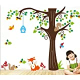 150 X134cm Nursery Forest Animals Birds Fox Squirrel Mushrooms Trees Wall Art Stickers Decal For Nursery Home...