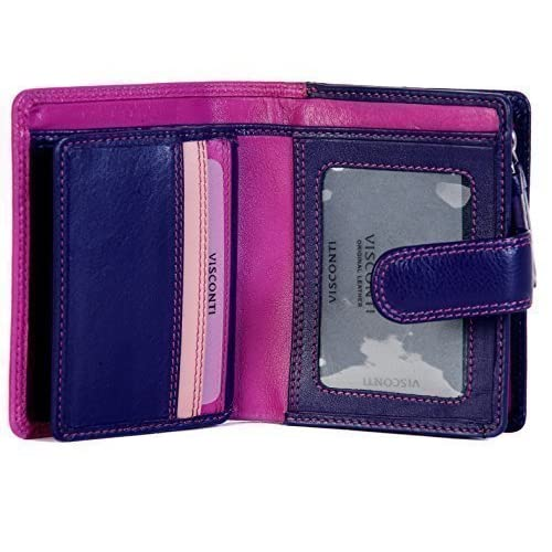 VISCONTI LADIES SMALL LEATHER 9 CARD ZIP AROUND PURSE WALLET, RB40 IN BERRY MULTI