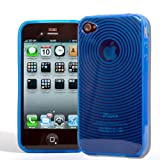 New Blue Ripple Effect Silicone Case & Screen Protector for the new Apple iPhone 4 4G HD