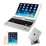 [2014 New Release] Kamor® Apple iPad Air Retina 32gb 16gb Keyboard Case High Quality Cover with Ultra Slim Bluetooth Keyboard for iPad Air Retina (iPad 5 5Gen 5 Generation) with 360 Degree Rotating Feature and Multiple Viewing Angles, Folio Style with IOS Commands - Silver