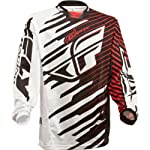 Fly Racing Kinetic Shock Mesh Youth Boys MX/Off-Road/Dirt Bike Motorcycle Jersey - Black/Red / X-Large