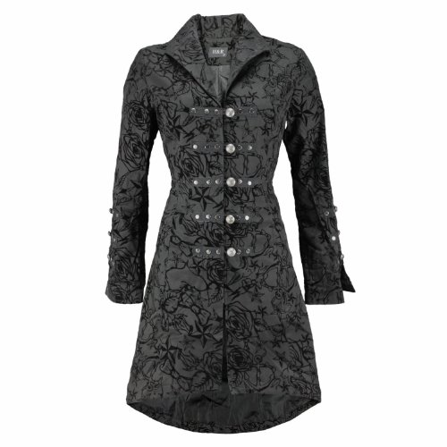 Pretty Kitty Fashion Black Vintage Tattoo Flock Fabric Long Coat 16