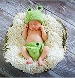 ベビー 着ぐるみ ヘアバンド赤ちゃん可愛いコスプレ新生児衣装 赤ちゃん出産祝い 百日記念 写真 撮影 コスチューム 着ぐるみ コスプレ ベビー 毛糸 ベビーニット帽 (青蛙)