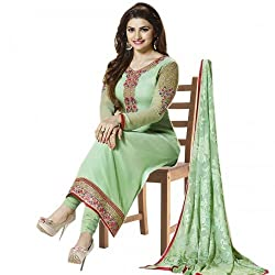 Regalia Ethnic New Collection Pista Color Embroidered Georgette Semistitched Dress Material With Matching Dupatta