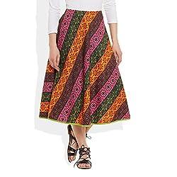 Womens Apparels Cotton Printed Medium Length Skirt A-Line Small,W-CMLSS-3006