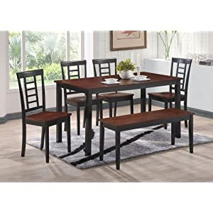 2 Tone Black Walnut Finish Wood Dining Room Kitchen Table 4 Chairs Bench Review Small
