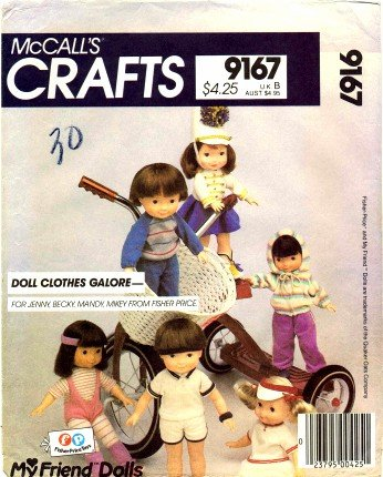 McCall's 9167 Crafts Sewing Pattern Fisher Price My Friend Doll Clothes