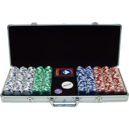 Trademark Commerce 10-1055-5001S 500 11.5G Holdem Poker Chip Set W/Aluminum Case 10-1055-5001S
