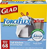 Glad ForceFlex OdorShield Tall Kitchen Drawstring Trash Bags, Fresh Clean, 13 Gallon, 68 Count