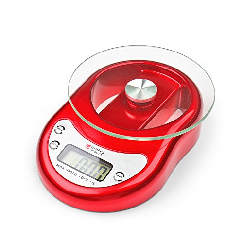 Flexzioin Digital Kitchen Food Scale Capacity 5000g x 1g Precision for Cooking Diet Postal Mailing Weighing Electronic with Removable Glass Platform LCD Display in Red (Old Kitchen Scale compare prices)