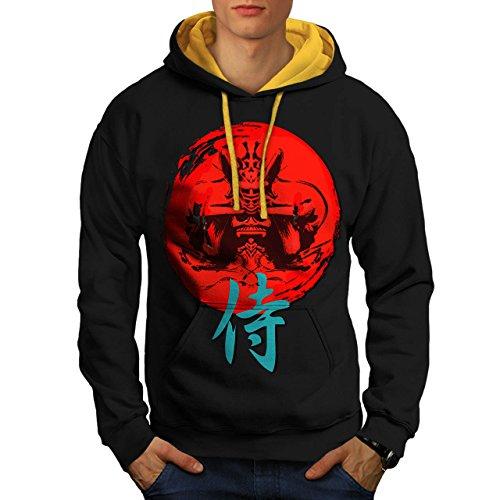 japonais-rouge-symbole-asiatique-homme-nouveau-noir-avec-capuche-dore-xl-capuchon-contraste-wellcoda