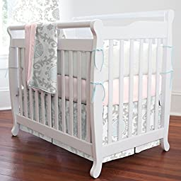 Carousel Designs Pink and Gray Rosa Mini Crib Bumper