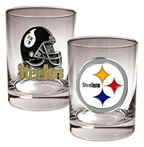 Pittsburgh Steelers NFL 2pc Rocks Glass Set from SteelerMania