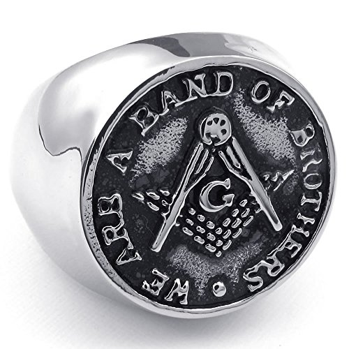 Konov Jewelry Mens Stainless Steel Ring, Freemason Masonic, Black Silver, Size 12