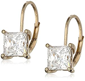 Plated Sterling Silver and Asscher Cut Swarovski Zirconia Halo Earrings from Amazon Curated Collection