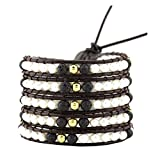 Dyed Colored Freshwater Cultured Pearls Wrap Around Leather Bracelet (Synthetic Lava Rock)